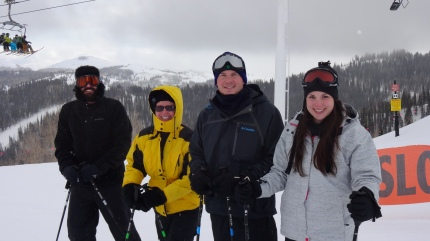 "Ski time with pals! ""Mr."" Luke, Miss Cheryl, Jordan, and Heather:)"