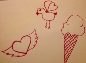 Hearts in flight, love bird with wings of hearts, and an ice cream in a heart cone!